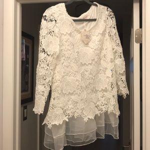 White lace long top